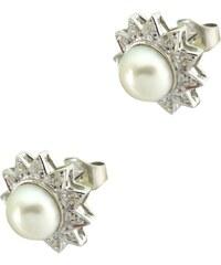 Watchmarket.gr Σκουλαρίκια λευκόχρυσα 18 καράτια με διαμάντια και  μαργαριτάρια 0de309eb460
