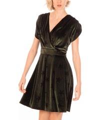 b2b5d6b4792a Minueto βελούδινο μίνι φόρεμα λαδί με αστέρια