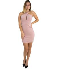 Γυναικείο μίνι φόρεμα με χιαστί μπούστο Brown Sugar ροζ 013900000G 4d35802e301