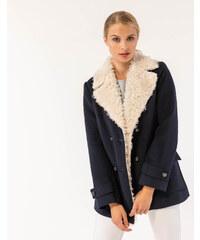 Issue Fashion Μπλε ημίπαλτο με επένδυση προβατάκι στο γιακά cc746f70be1