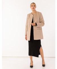 d871fde7d803 Issue Fashion Παλτό χωρίς γιακά με τσέπες μπροστά που κλείνουν με φερμουάρ