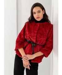 The Fashion Project Γούνινο πανωφόρι με δετό ζωνάκι - Κόκκινο - 05912014005 47e91d02b69