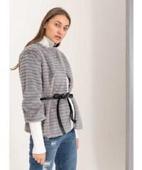 The Fashion Project Γούνινο πανωφόρι με δετό ζωνάκι - Γκρι - 05912038005 df75fc40424