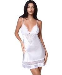 Milena Γυναικείο Νυχτικό   String Σατέν Δαντέλα Στο Στήθος Λευκό b5b57ebfe58