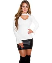 fbf5433739b9 Fashion Style 41941 FS Πουλόβερ με τσόκερ και V - Ασπρο