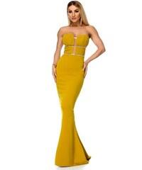 5b658a31e1c1 RO FASHION 9275 RO Μάξι στράπλες φόρεμα με στρας - Μουσταρδί