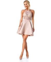 d6a53736e2dc RO FASHION 9279 RO Εντυπωσιακό μίνι φόρεμα με δαντέλα - Μπεζ Ροζ