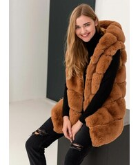The Fashion Project Αμάνικο jacket από οικολογική γούνα - Caramel -  05983042010 6d10bef503e