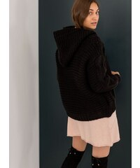 The Fashion Project Ζακέτα με κουκούλα και σχέδιο στην πλέξη - Μαύρο - 001 2df197793cc