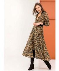 Noobass Maxi φόρεμα με animal print - Μουσταρδί - 06046056004 01dc22a5a2c