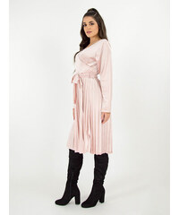 163a2b4b0753 Stylegr Κρουαζέ φόρεμα βελουτέ με πλισέ φούστα και ζώνη ροζ