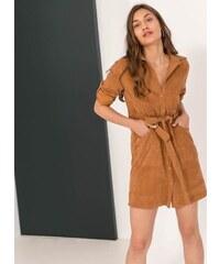 The Fashion Project Κοτλέ φόρεμα-πουκάμισο με εξωτερικές τσέπες - Ταμπά -  06137007005 10c47b1f065