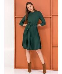 The Fashion Project Φόρεμα πλισέ με κουμπιά στον ώμο - Κυπαρισσί - 001 f8887d38432