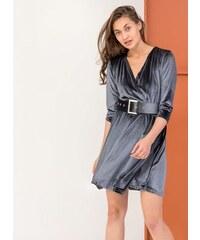 d85e7a762730 The Fashion Project Κρουαζέ βελουτέ φόρεμα με φαρδυά ζώνη - Γκρι - 001