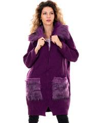 a4edb6c67a3a outletshop Lee Ecosse Μωβ γυναικεία πλεκτή ζακέτα με λεπτομέρειες γούνας