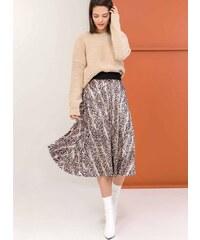 The Fashion Project Πλισέ βελουτέ φούστα με snakeprint - Μαύρο Μπεζ - 001 7c4d59b2233