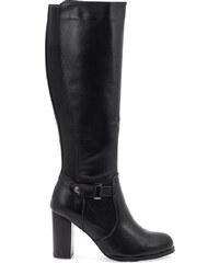 Μπότες μαύρες δερματίνη με λάστιχο και αγκράφα στο πλάι 31f073a2abf