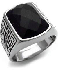 OEM Ανδρικό Δαχτυλίδι με μαύρη πέτρα και σχέδιο 90ad732fb3c