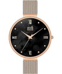 Ρολόι Visetti Harmony με ροζ χρυσό μπρασελέ και μαύρο καντράν RI-493RB b74a7023aed