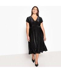 CASTALUNA Κοντομάνικο βελούδινο φόρεμα σε εβαζέ γραμμή 6c3c8490902