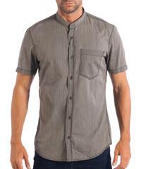 200224159a1a Ανδρικό γκρι κοντομάνικο πουκάμισο RESERVED Regular fit