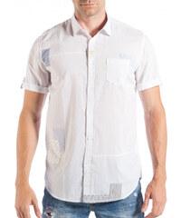 3167c5393142 Ανδρικό λευκό κοντομάνικο πουκάμισο με μπαλώματα
