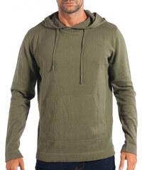 c432d025f172 Ανδρικό πράσινο πουλόβερ με κουκούλα RESERVED