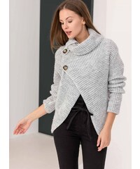 The Fashion Project Πλεκτό με διακοσμητικά κουμπιά - Γκρι - 06133038001 0f5d32215fa