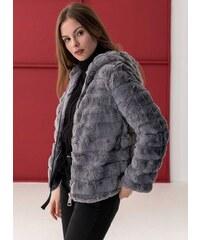 The Fashion Project Γούνινο μπουφάν με κουκούλα - Γκρι - 006 ad2224651ac