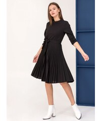 68b4597d2f26 The Fashion Project Φόρεμα πλισέ με κουμπιά στον ώμο - Μαύρο - 001