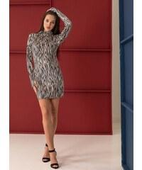 The Fashion Project Βελουτέ φόρεμα με animal print - Μαύρο Μπεζ - 001 7e57d234767