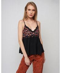 BSM Γυναικεία μπλούζα με δαντέλα στο στήθος ΜΟΥΣΤΑΡΔΙ - Glami.gr d3afb8e9f62