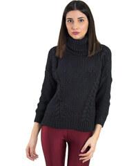 12d3299a59f6 Huxley   Grace Γυναικείο μαύρο πλεκτό πουλόβερ με ζιβάγκο 8682C