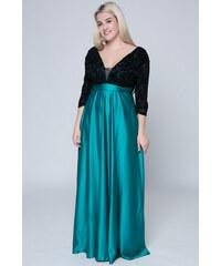 302e58cc38d5 Happysizes Maxi σατέν φόρεμα με βελουτέ μπούστο σε μαύρο/πράσινο χρώμα