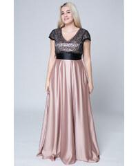 81c4415e529d Happysizes Maxi σατέν φόρεμα με ζώνη σε μαύρο χρυσό χρώμα