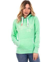67ae287ea779 outletshop Superdry πράσινο ανοικτό γυναικείο φούτερ με κουκούλα και γκρι  γράμματα