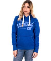 48d08d136a61 outletshop Superdry μπλε γυναικείο φούτερ με κουκούλα και γκρι γράμματα