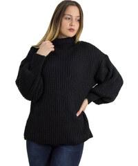 7788a689ecd1 Huxley   Grace Γυναικείο μαύρο πλεκτό μονόχρωμο πουλόβερ φαρδύ ζιβάγκο 2251L