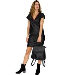 44bb97c7f148 Miss Pinky Φόρεμα mini δερματίνη με ντεκολτέ ρίγες - ΜΑΥΡΟ 107-1410