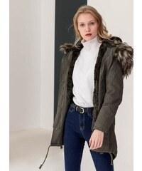 The Fashion Project Παρκά με επένδυση από οικολογική γούνα - Πράσινο -  06428016003 ebe75787391