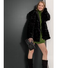 The Fashion Project Πανωφόρι από οικολογική γούνα με κουκούλα - Μαύρο -  06436002005 3031a1c8600