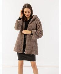 a02aa1fcc21d Issue Fashion Μπεζ γούνα με κουκούλα