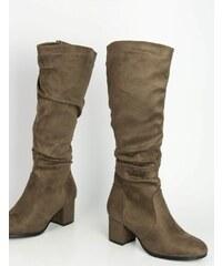 c0eaf20e50b Huxley & Grace Γυναικείες καφέ σουέντ μπότες χοντρό τακούνι HXH055