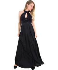9bc5adf1811 No Stress Γυναικείο μαύρο φόρεμα σατέν παγιέτα κολάρο 8451258