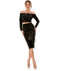 RO FASHION 9293 RO Θηλυκό σετ με τοπ και φούστα από βελούδο και παγιέτες -  Μαύρο e1403b5a146