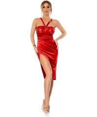 RO FASHION 9294 RO Βραδινό μίντι βελούδινο φόρεμα με παγιέτες - Κόκκινο 5196ba66b0b