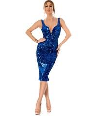 0b41fd075a05 RO FASHION 9297 RO Εντυπωσιακό μίντι φόρεμα με παγιέτες και βελούδο - Μπλε