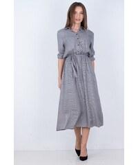 QZ Γυναικείο φόρεμα με κουμπιά και ζώνη στην μέση ΓΚΡΙ 511a89f837a