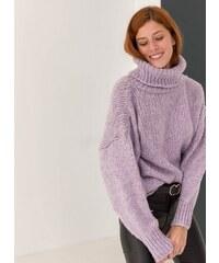 The Fashion Project Πουλόβερ με χοντρή πλέξη και ζιβάγκο - Λιλά - 001 c7fcd3500d1