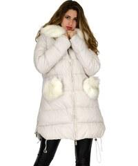 Μπουφάν Miss Pinky μακρύ με κουκούλα γούνα - ΕΚΡΟΥ 110-1039 8cd294360f8